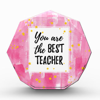 The Best Teacher - Pink Yellow Star Watercolor Acrylic Award
