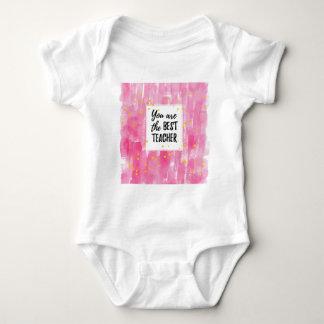 The Best Teacher - Pink Yellow Star Watercolor Baby Bodysuit