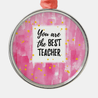 The Best Teacher - Pink Yellow Star Watercolor Metal Ornament