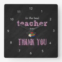 the best teacher, thank you square wall clock