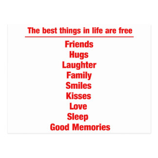 The best things in life are free postcard