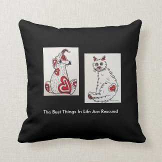 """The Best Things In Life Are Rescued"""" Square Pillow"""