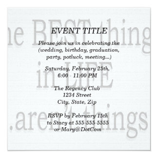 The Best Things in Life Aren't Things Custom Invitations