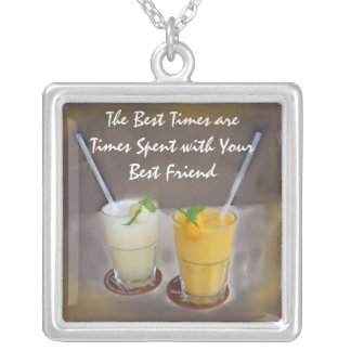 The Best Times are Times with Your Best Friend Square Pendant Necklace