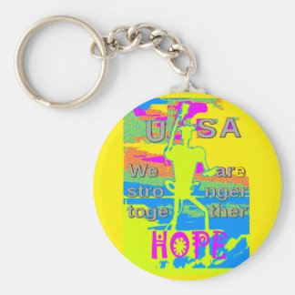The Best USA Hope  Hillary Stronger Together Keychain