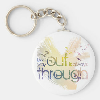 The best way out is always through basic round button keychain
