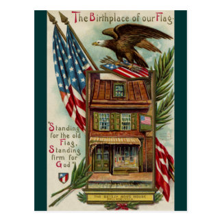 The Betsey Ross House, Eagle & Flag Postcard