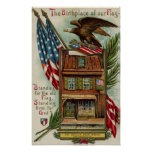 The Betsey Ross House, Eagle & Flag Poster