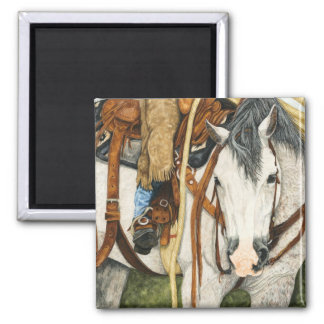 The Better Half - Western Horse & Rider 2 Inch Square Magnet