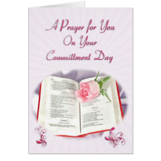 The Bible and rose prayer for a Committment Day Card