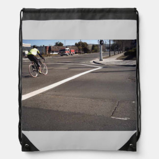 The Bicyclist And The Fire Truck Cinch Bags