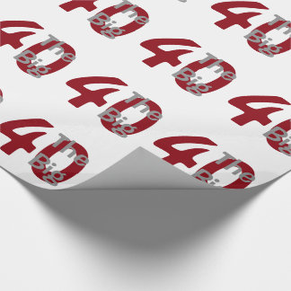 The big '40', Birthday, red, white text on white. Wrapping Paper