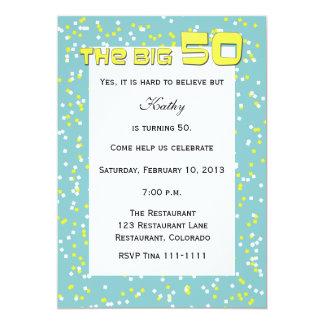 """""""The BIG 50"""" 50th Birthday Invitation -- Confetti"""