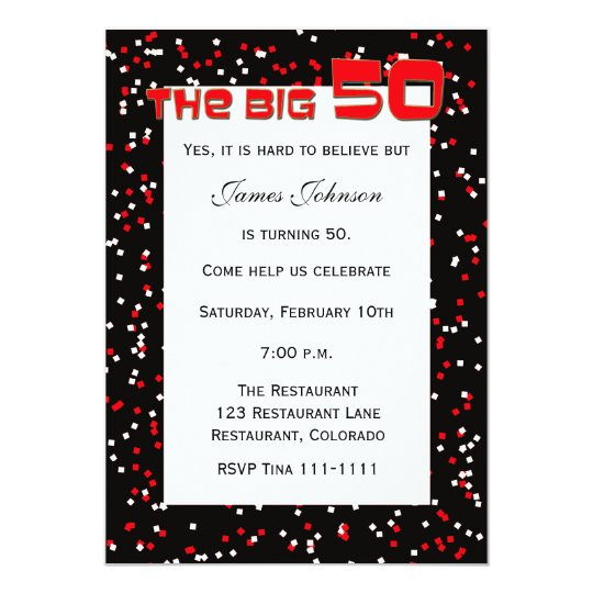 """The BIG 50"" 50th Birthday Invitation on Black"