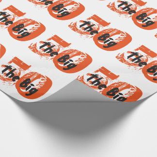 The big 50, Birthday, black, orange text on white. Wrapping Paper