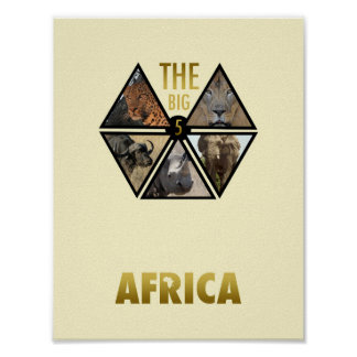 """The Big 5 Africa 11"""" x 8.5"""" Poster"""