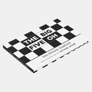 The Big 5 Oh Black White Checkered 50th Birthday Guest Book
