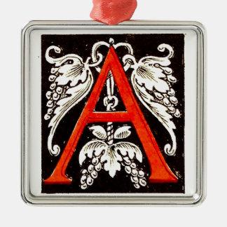 """The Big """"A"""" - Floral Illumination Metal Ornament"""