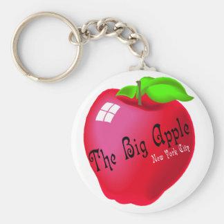 The Big Apple Basic Round Button Keychain