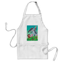 artsprojekt, big bad wolf, fairy tale, red riding hood, three little pigs, wolf, red cap, red hood, friendly wolf, pigs, grimm's fairy tales, happy wolf, friandly tale, hipster, hippie, children illustration, Apron with custom graphic design