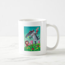 artsprojekt, big bad wolf, fairy tale, red riding hood, three little pigs, wolf, red cap, red hood, friendly wolf, pigs, grimm's fairy tales, happy wolf, friandly tale, hipster, hippie, children illustration, Mug with custom graphic design