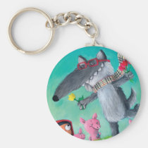 artsprojekt, big bad wolf, fairy tale, red riding hood, three little pigs, wolf, red cap, red hood, friendly wolf, pigs, grimm's fairy tales, happy wolf, friandly tale, hipster, hippie, children illustration, Keychain with custom graphic design