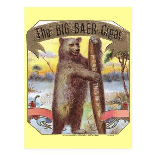 The Big Baer Cigar Label Postcard