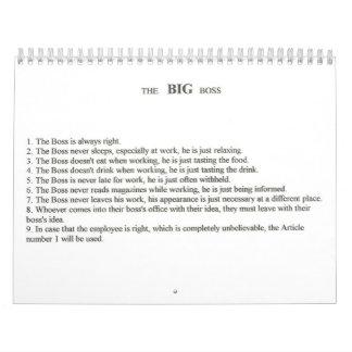 The BIG BOSS Calendar