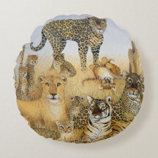 The Big Cats Round Pillow