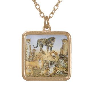 The Big Cats Square Pendant Necklace