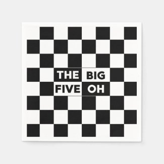 The Big Five Oh Black and White Checkered Pattern Napkin
