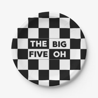 The Big Five Oh Black and White Checkered Pattern Paper Plate