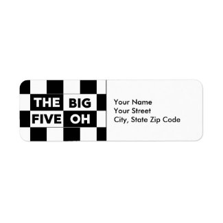 The Big Five Oh Black White Checkerboard Labels