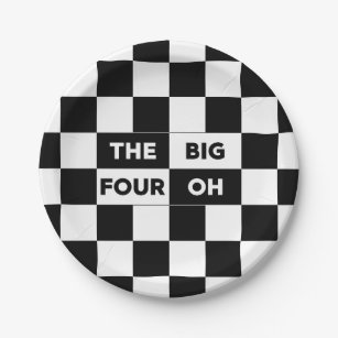 The Big Four Oh Black and White Checkered Pattern Paper Plate & Black White Checkered Pattern Plates | Zazzle