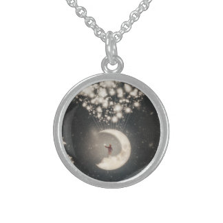 The Big Journey of the Man on the Moon Round Pendant Necklace