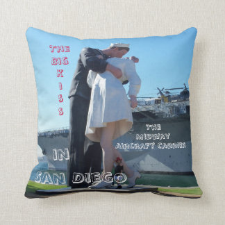 The Big Kiss in San Diego Throw Pillow