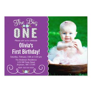 "The Big One Chevron Purple Photo 1st Birthday 5"" X 7"" Invitation Card"
