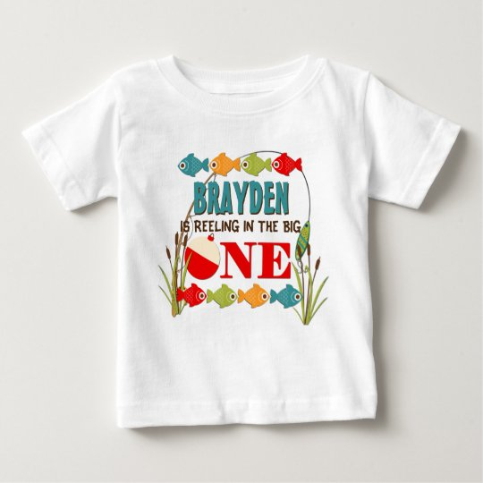 The big one fishing theme boys first birthday baby t shirt for First birthday fishing theme