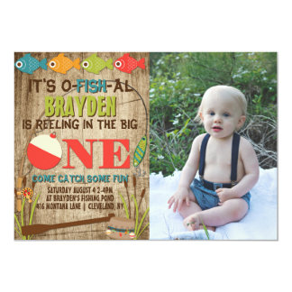 The Big One Fishing Theme Boys First Birthday Card