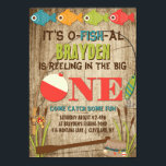 """The Big One Fishing Theme Boys First Birthday Card<br><div class=""""desc"""">A colorful fishing themed first birthday invitation to help celebrate &#39;The Big One&#39;.  Pops of red,  green,  orange,  and blue fish and gear provide a colorful contrast to the distressed wood background.  The back features a fisherman in a boat with the phrase &#39;Gone Fishing&#39;.  Clipart &#169;MyClipArtStore: http://www.myclipartstore.com</div>"""