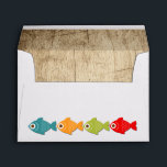 """The Big One Fishing Theme Boys First Birthday Envelope<br><div class=""""desc"""">A colorful fishing themed first birthday invitation to help celebrate &#39;The Big One&#39;. Pops of red,  green,  orange,  and blue fish and gear provide a colorful contrast to the distressed wood background.  Clipart &#169;MyClipArtStore: http://www.myclipartstore.com</div>"""