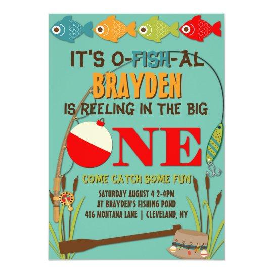 The big one fishing theme boys first birthday invitation zazzle the big one fishing theme boys first birthday invitation filmwisefo