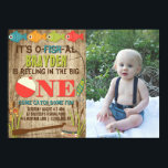 """The Big One Fishing Theme Boys First Birthday Invitation<br><div class=""""desc"""">A colorful fishing themed first birthday invitation to help celebrate &#39;The Big One&#39;. Pops of red, green, orange, and blue fish and gear provide a colorful contrast to the distressed wood background. The back features a fisherman in a boat with the phrase &#39;Gone Fishing&#39;. Add a photo of your precious...</div>"""