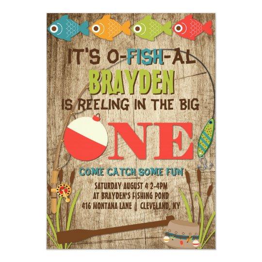 the big one fishing theme boys first birthday invitation zazzle com
