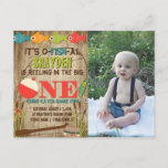 """The Big One Fishing Theme Boys First Birthday Invitation Postcard<br><div class=""""desc"""">A colorful fishing themed first birthday invitation to help celebrate &#39;The Big One&#39;. Pops of red, green, orange, and blue fish and gear provide a colorful contrast to the distressed wood background. The back features a fisherman in a boat with the phrase &#39;Gone Fishing&#39;. Add a photo of your precious...</div>"""