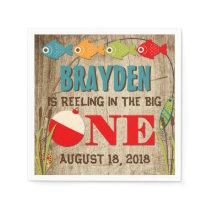 The Big One Fishing Theme Boys First Birthday Napkin