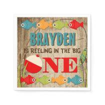 The Big One Fishing Theme Boys First Birthday Paper Napkin