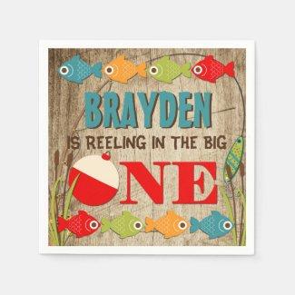 The Big One Fishing Theme Boys First Birthday Paper Napkins