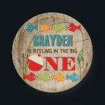 "The Big One Fishing Theme Boys First Birthday Paper Plate<br><div class=""desc"">A colorful fishing themed first birthday paper plate to help celebrate &#39;The Big One&#39;. Pops of red,  green,  orange,  and blue fish and gear provide a colorful contrast to the distressed wood background. Some Clipart &#169;MyClipArtStore: http://www.myclipartstore.com</div>"