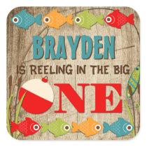 The Big One Fishing Theme Boys First Birthday Square Sticker